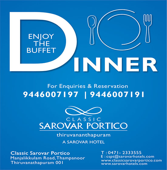 Buffet Dinner at an attractive price in the heart of Trivandrum city
