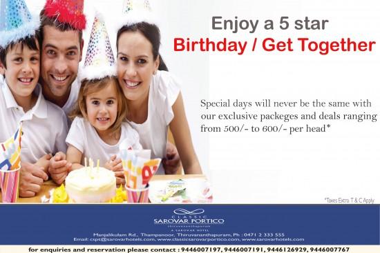 Enjoy 5 star Birthday / Get Together